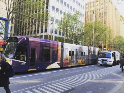 Dr Matthew Bird\'s design of a tram as part of the Melbourne Festival.