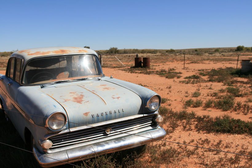 Rusted Vauxhall car in the Australian red centre