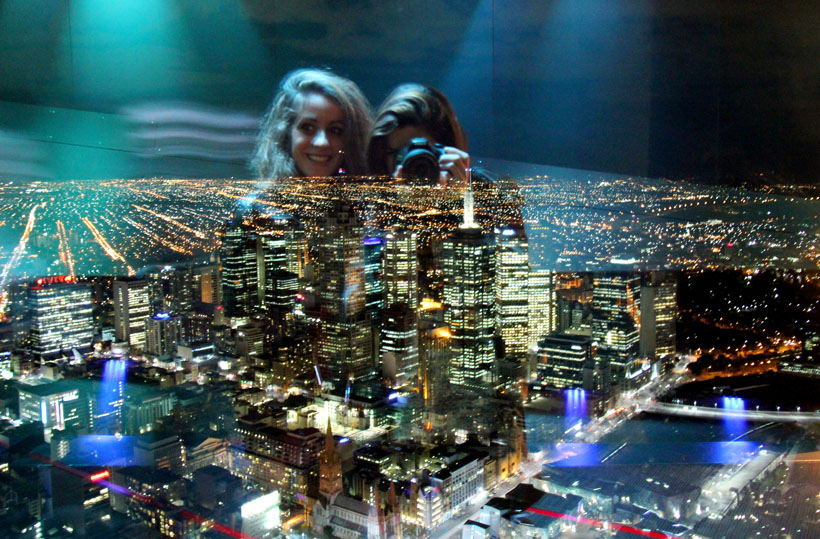Melbourne at night from the Eureka Skydeck.
