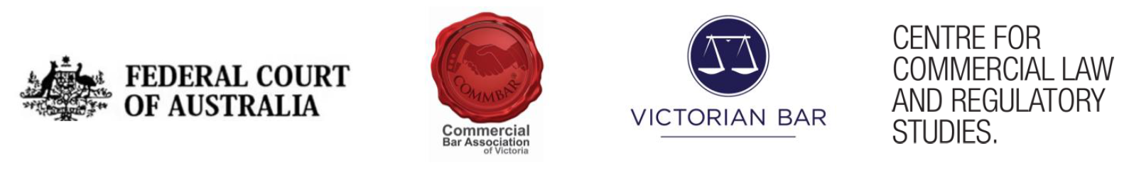 Logos for Federal Court of Australia, Commercial Bar Association of Victoria, Victorian Bar, Centre for Commercial and Regulatory Studies