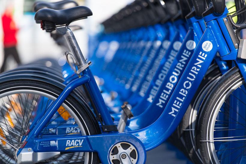 Bikes for hire in Melbourne city, Australia