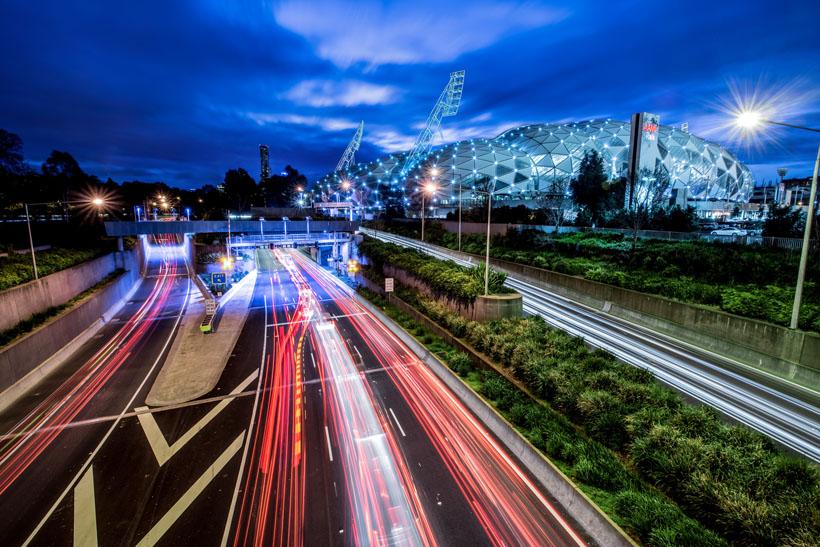 Train lights along the Monash Freeway, Melbourne