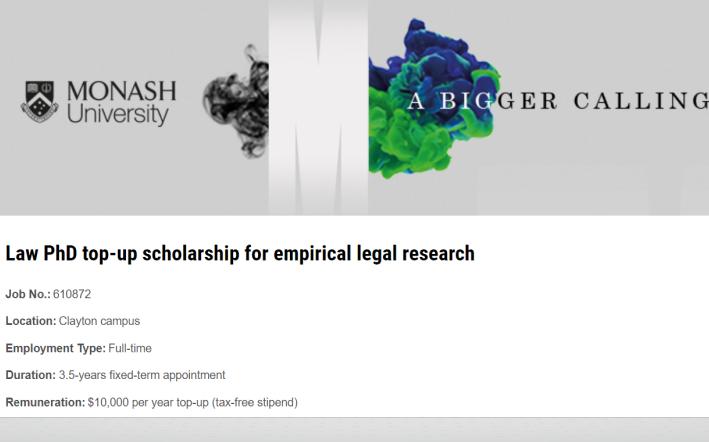PhD top up advert