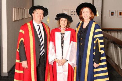 Louise Adler AM (centre) with Deputy Chancellor Mr Shane Buggle and the President and Vice-Chancellor, Professor Margaret Gardner.