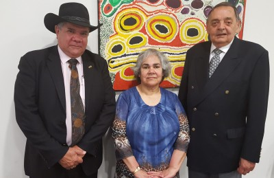 Distinguished alumnus Professor Mick Dodson AM (LLB, 1974) current Director of the National Centre for Indigenous Studies at ANU; Elder-in-Residence Aunty Diane Singh; Professor Colin Bourke MBE, Chair of the Indigenous Advisory Council.