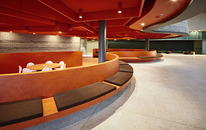 Learning and Teaching Building ground level social area sunken lounge