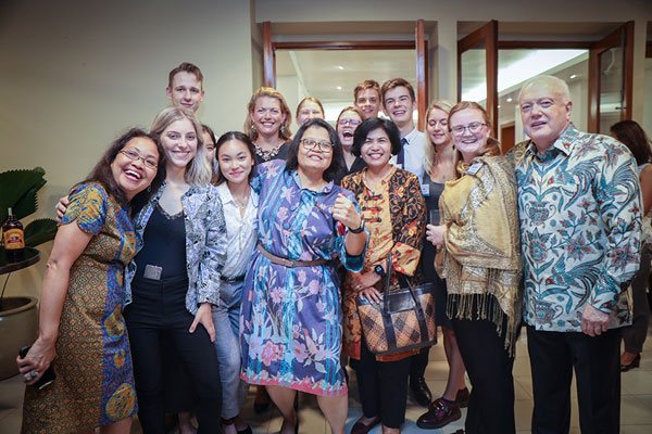 Monash Arts students at Ambassador's residence for the Herb Feith Indonesian Centr