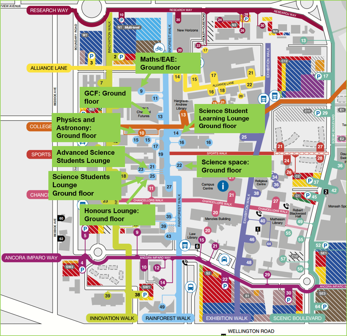 study spaces map