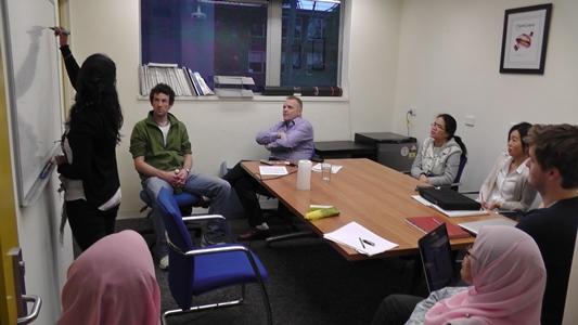 Prof Tom Welton with Monash students