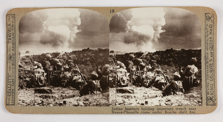 Indian bombers holding important trench near Neuve-Chapelle come under Bosche shell fire