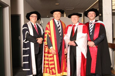 Professor Bryan Horrigan, Dean of the Faculty of Law, Chancellor Dr Alan Finkel AO, The Honourable Dr Michael Kirby AC CMG and Professor David Copolov OAM, Pro Vice-Chancellor (Major Campuses and Student Engagement).