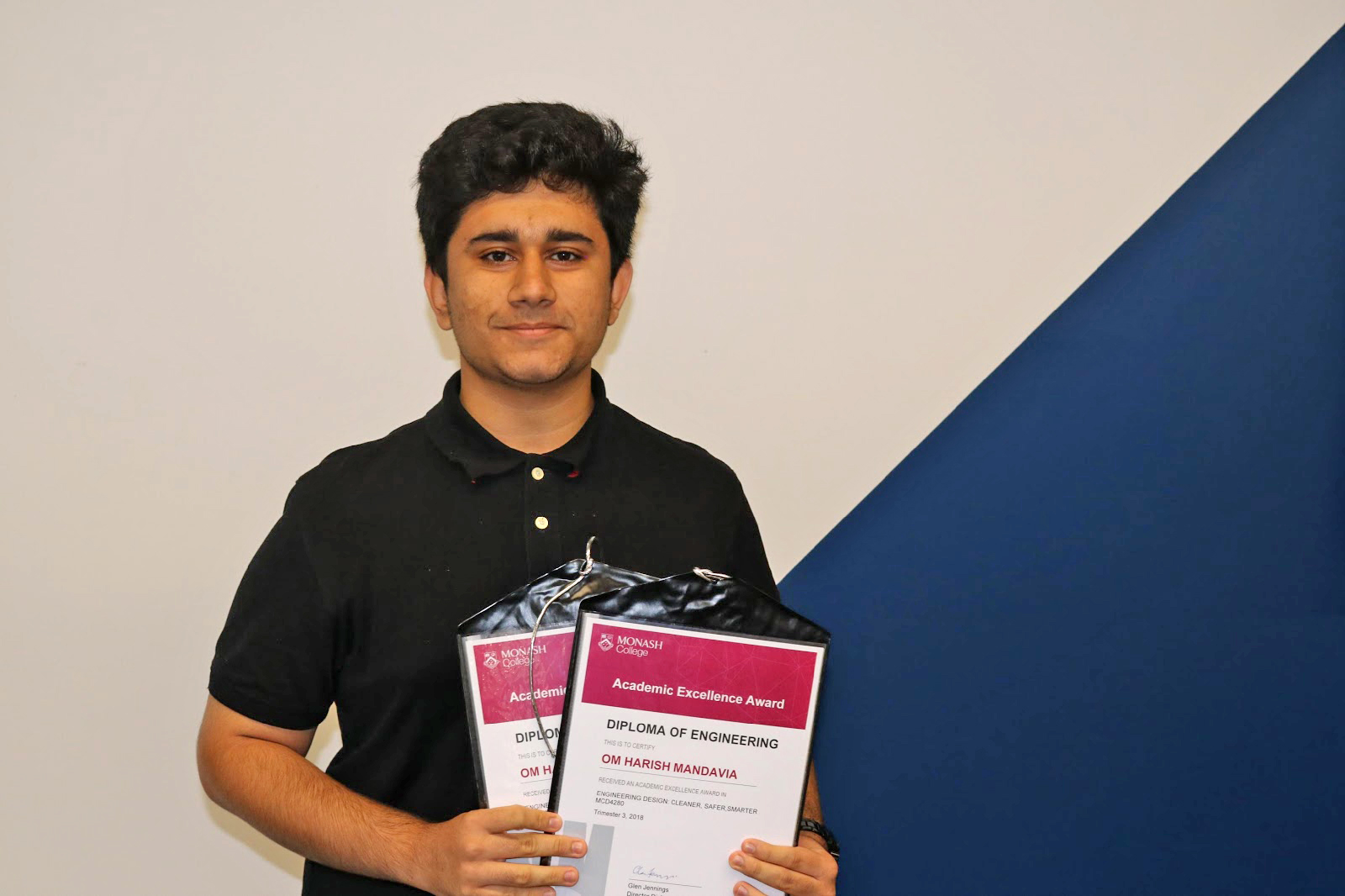Om Harish Mandavia diploma student winner of two academic excellence awards