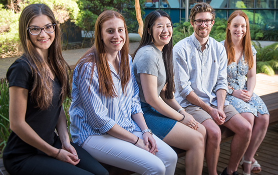 L-R: Alanna-Maree Kontaxis, Gabriella Longano, Jasmine Nguyen (Bachelor of Commerce/Bachelor of Economics), Matthew Narayan and Emily Fuller. Absent - Isaac Chizik