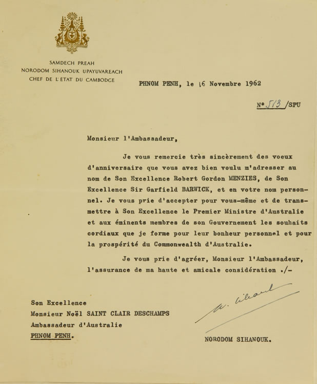 Letter from Head of State of Cambodia
