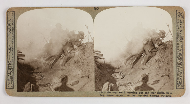 Over the top, amid bursting gas and tear shells, in a determined assault on the fortified Somme villagers