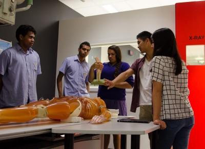 Students from Yiramalay School with Monash radiography students last week.