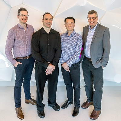 The Monash team (from left to right): Dr Kade Roberts, Dr Tony Velkov, Professor Jian Li, Professor Roger Nation (and Associate Professor Philip Thompson, absent due to business travel)