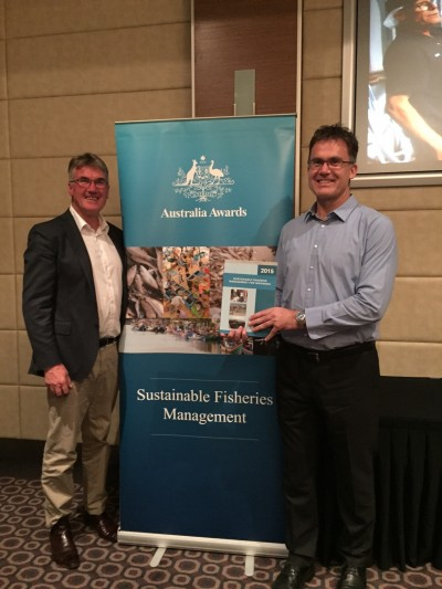 Launching a book on Sustainable Fisheries Management for Indonesia in Port Lincoln South Australia. Dr Paul McShane (Monash) and Mr Robert McKelleher Leader Australia Awards and Scholarships Indonesia (DFAT).